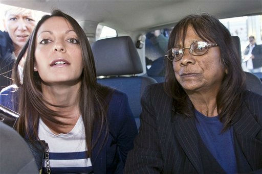 Meredith Kercher&#39;s sister Stephanie, left, and her mother Airline, right, leave the Sant&#39;Egidio airport in Perugia, Monday, Oct. 3, 2011, to attend the Amanda Knox and Raffaele Sollecito trial. Knox, an American student, was convicted of sexually assaulting and murdering Meredith Kercher, her British roommate in Perugia, and sentenced to 26 years in prison. Knox&#39;s boyfriend at the time of the 2007 murder, Raffaele Sollecito of Italy, was convicted of the same charges and sentenced to 25 years. Both deny wrongdoing and have appealed the December 2009 verdict. The Kercher family is expected to be in court when the jury delivers the verdict. &#40;AP Photo&#47;Angelo Carconi&#41; <span class=meta>(Photo&#47;Angelo Carconi)</span>