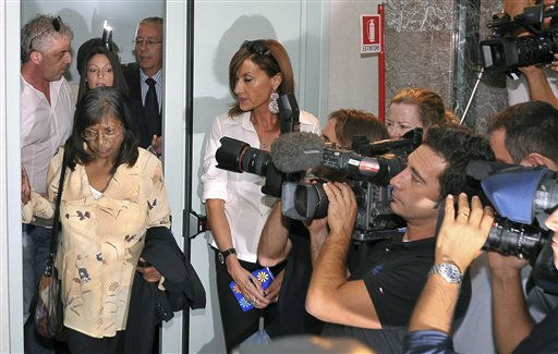 Arline Kercher, left, mother of slain British student Meredith Kercher arrives followed by her daughter Stephanie for a news conference in Perugia, Italy, Monday, Oct. 3, 2011. The sister of slain British student Meredith Kercher has urged the court to weigh the evidence against Amanda Knox and not pay attention to the &#34;media hype&#34; surrounding the high-profile case. Stephanie Kercher spoke to reporters as the eight-member jury on Monday deliberated the fate of Knox and co-defendant Raffaele Sollecito, who are appealing their 2009 murder convictions. Stephanie Kercher, her mother and her brother were in Perugia for the verdict, expected later Monday. At a press conference, Kercher said her sister &#34;has been mostly forgotten&#34; and that it was difficult to keep her memory alive. &#40;AP Photo&#47;Stefano Medici&#41; <span class=meta>(AP Photo&#47; Stefano Medici)</span>