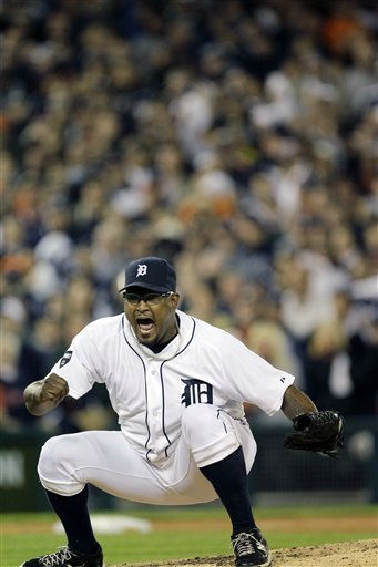Detroit Tigers relief pitcher Jose Valverde reacts after striking out New York Yankees&#39; Derek Jeter during the ninth inning of Game 3 of baseball&#39;s American League division series on Monday, Oct. 3, 2011, in Detroit. &#40;AP Photo&#47;Paul Sancya&#41; <span class=meta>(AP Photo&#47; Paul Sancya)</span>