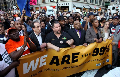 Members of labor unions and others join Occupy Wall Street during a march in Lower Manhattan as they arrive near Zuccotti Park Wednesday, Oct. 5, 2011 in New York. &#40;AP Photo&#47;Craig Ruttle&#41; <span class=meta>(AP Photo&#47; Craig Ruttle)</span>