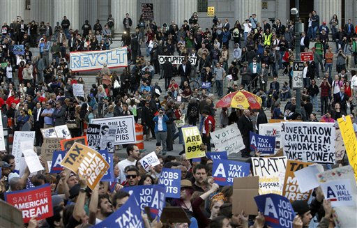 Occupy Wall Street protesters join a labor union rally in Foley Square before marching on Zuccotti Park in New York&#39;s Financial District, Wednesday, Oct. 5, 2011. &#40;AP Photo&#47;Jason DeCrow&#41; <span class=meta>(AP Photo&#47; Jason DeCrow)</span>