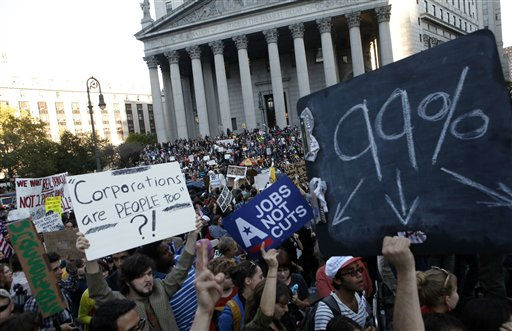 "<div class=""meta ""><span class=""caption-text "">Occupy Wall Street protesters join a labor union rally in Foley Square before marching on Zuccotti Park in New York's Financial District, Wednesday, Oct. 5, 2011. (AP Photo/Jason DeCrow) (AP Photo/ Jason DeCrow)</span></div>"