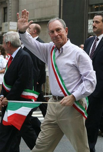 "<div class=""meta ""><span class=""caption-text "">Mayor Michael Bloomberg waves as he makes his way up Fifth Avenue during the Columbus Day Parade Monday, Oct. 10, 2011, in New York. (AP Photo/Tina Fineberg) (AP Photo/ Tina Fineberg)</span></div>"