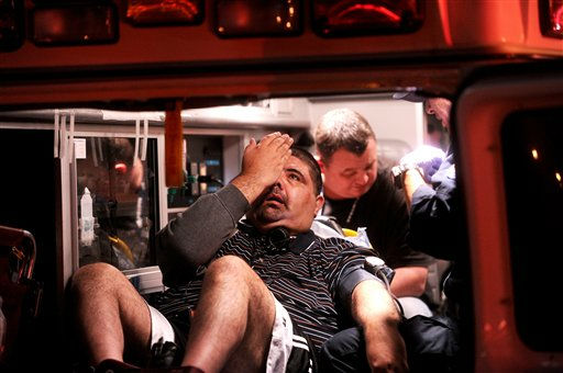 "<div class=""meta ""><span class=""caption-text "">Paramedics transport an Amtrak passenger to a hospital after two trains collided at an Oakland, Calif., station on Wednesday, Oct. 12, 2011. A fire official said one train was unloading passengers when the second train ran into it at an estimated speed of 15 to 20 miles per hour injuring about 16 people. (AP Photo/Noah Berger) (AP Photo/ Noah Berger)</span></div>"