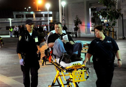 Paramedics transport an Amtrak passenger to a hospital after two trains collided at an Oakland, Calif., station on Wednesday, Oct. 12, 2011. A fire official said one train was unloading passengers when the second train ran into it at an estimated speed of 15 to 20 miles per hour injuring about 16 people. &#40;AP Photo&#47;Noah Berger&#41; <span class=meta>(AP Photo&#47; Noah Berger)</span>