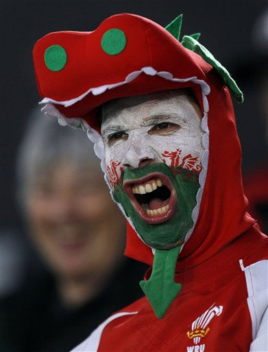 A supporter for Wales cheers before their bronze medal Rugby World Cup game against Australia at Eden Park in Auckland, New Zealand, Friday, Oct. 21, 2011. &#40;AP Photo&#47;Dita Alangkara&#41; <span class=meta>(AP Photo&#47; Dita Alangkara)</span>