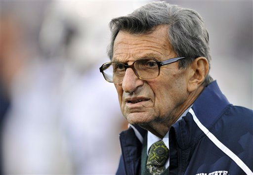 FILE - In this Oct. 22, 2011 file photo, Penn State coach Joe Paterno stands on the field before his team&#39;s NCAA college football game against Northwestern, in Evanston, Ill. Paterno&#39;s doctors say that the former Penn State coach&#39;s condition has become &#34;serious,&#34; following complications from lung cancer in recent days. &#40;AP Photo&#47;Jim Prisching, File&#41; <span class=meta>(AP Photo&#47; Jim Prisching)</span>