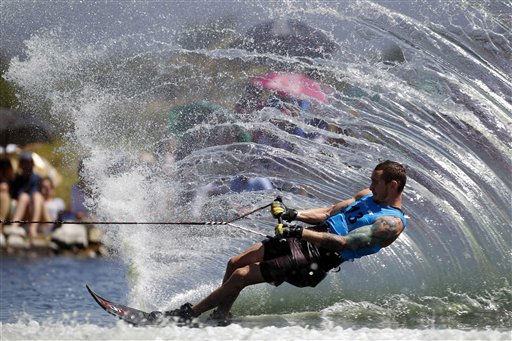 Jason McClintock, of Canada, competes in the men&#39;s water skiing slalom final competition during the Pan American Games in Chapala, on the outskirts of Guadalajara, Mexico, Sunday, Oct. 23, 2011. &#40;AP Photo&#47;Dario Lopez-Mills&#41; <span class=meta>(AP Photo&#47; Dario Lopez-Mills)</span>