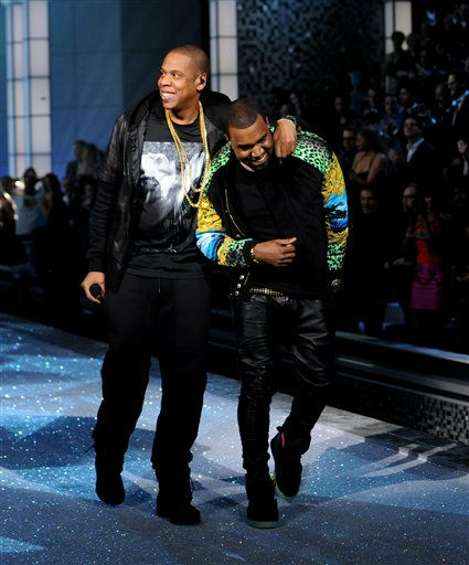 Jay-Z, left, and Kanye West perform during the Victoria&#39;s Secret fashion show in New York, Wednesday, Nov. 9, 2011. &#40;AP Photo&#47;Brad Barket&#41; <span class=meta>(AP Photo&#47; Brad Barket)</span>