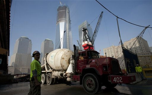 A truckload of concrete is delivered to the World Trade Center construction site, Thursday, Nov. 10, 2011 in New York. Tower One is at center. &#40;AP Photo&#47;Mark Lennihan&#41; <span class=meta>(AP Photo&#47; Mark Lennihan)</span>