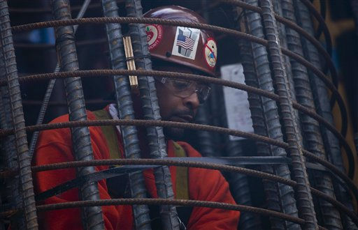 A worker connects steel reinforcing rods at the foundation for World Trade Center Tower Two, Thursday, Nov. 10, 2011 in New York. The tower is one of three commercial buildings at the site under development by Silverstein Properties. &#40;AP Photo&#47;Mark Lennihan&#41; <span class=meta>(AP Photo&#47; Mark Lennihan)</span>
