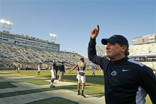 Penn State interim head coach Tom Bradley acknowledges the student section during warm ups before an NCAA college football game against Nebraska in State College, Pa., Saturday, Nov. 12, 2011. &#40;AP Photo&#47;Gene J. Puskar&#41; <span class=meta>(AP Photo&#47; Gene J. Puskar)</span>