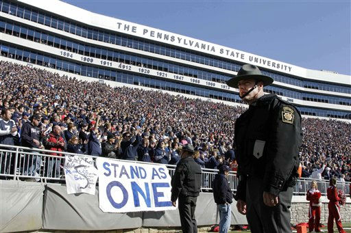 "<div class=""meta ""><span class=""caption-text "">Penn State fans cheer during senior recognition before an NCAA college football game against Nebraska at Beaver Stadium in State College, Pa., Saturday, Nov. 12, 2011.  Penn State is playing for the first time in decades without former head coach Joe Paterno, after he was fired in the wake of a child sex abuse scandal involving a former assistant coach.  (AP Photo/Gene J. Puskar) (AP Photo/ Gene J. Puskar)</span></div>"