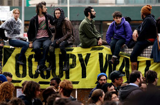 "<div class=""meta ""><span class=""caption-text "">Occupy Wall Street protesters regroup in Duarte Park Tuesday, Nov. 15, 2011 in New York after they were forced to leave and their encampment was taken down in Zucotti Park after nearly two months of occupation.   (AP Photo/Craig Ruttle) (AP Photo/ Craig Ruttle)</span></div>"