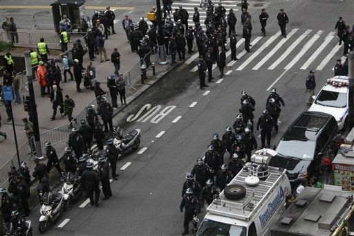 Police officers are deployed before demonstrators affiliated with the Occupy Wall Street movement march through the streets of the financial district, Thursday, Nov. 17, 2011 in New York. &#40;AP Photo&#47;Mary Altaffer&#41; <span class=meta>(AP Photo&#47; Mary Altaffer)</span>