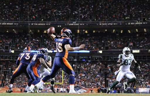 "<div class=""meta ""><span class=""caption-text "">Denver Broncos quarterback Tim Tebow (15) steps back to pass against the New York Jets in the fourth quarter of an NFL football game, Thursday, Nov. 17, 2011, in Denver. (AP Photo/Jack Dempsey) (AP Photo/ Jack Dempsey)</span></div>"