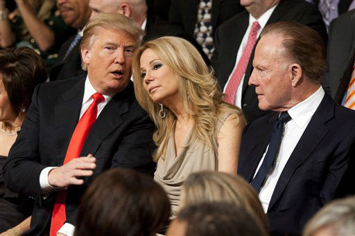 Donald Trump, left, Kathie Lee Gifford and Frank Gifford sit in the audience during Regis Philbin&#39;s  farewell episode of &#34;Live! with Regis and Kelly&#34;, in New York, Friday, Nov. 18, 2011.  After more then  28 years, Philbin signed off U.S. morning television on Friday, long after setting a world record for the most time on TV.   Philbin,  80,  has logged more than 17,000 hours on television in a career that dates back to the 1960s. He gained prime-time fame as host of &#34;Who Wants to Be a Millionaire&#34; a decade ago. But his enduring impact was as a morning show host, turning stories about something as simple as a dinner out on the town into compelling viewing.   &#40;AP Photo&#47;Charles Sykes&#41; <span class=meta>(AP Photo&#47; Charles Sykes)</span>