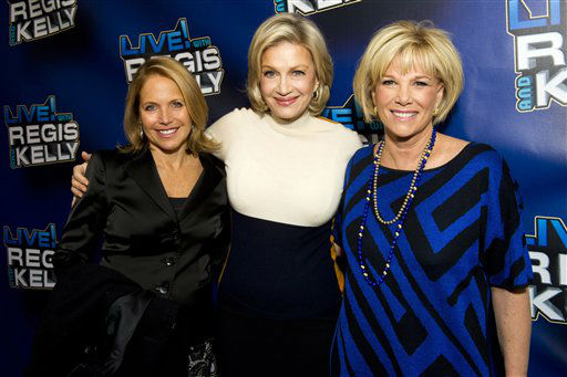 "<div class=""meta image-caption""><div class=""origin-logo origin-image ""><span></span></div><span class=""caption-text"">Katie Couric, left, Diane Sawyer and Joan London arrive for Regis' farewell episode of ""Live! with Regis and Kelly"", in New York, Friday, Nov. 18, 2011. (AP Photo/Charles Sykes) (AP Photo/ Charles Sykes)</span></div>"