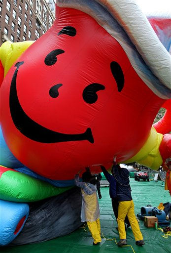 "<div class=""meta ""><span class=""caption-text "">Technicians tip up the Kool-Aid Man balloon while it is inflated for the 85th annual Macy's Thanksgiving Day Parade Wednesday, Nov. 23, 2011 in preparation for Thursday's parade in New York. (AP Photo/Craig Ruttle) (AP Photo/ Craig Ruttle)</span></div>"
