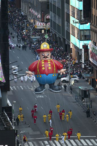 The &#39;Harold the Fireman&#39; float is seen during the Macy&#39;s Thanksgiving Day Parade in Time Square in New York on Thursday, Nov. 24, 2011. The parade premiered in 1924, this is its 85th year. &#40;AP Photo&#47;Andrew Burton&#41; <span class=meta>(AP Photo&#47; Andrew Burton)</span>