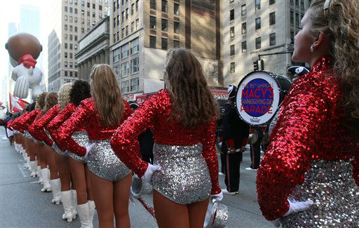 Dancers with the Homewood High School Patriot Band, from Homewood, Alabama, line up on New York&#39;s Sixth Avenue as they take part in the 85th Annual Macy&#39;s Thanksgiving Day Parade Thursday Nov. 24, 2011. &#40;AP Photo&#47;Tina Fineberg&#41; <span class=meta>(AP Photo&#47; Tina Fineberg)</span>