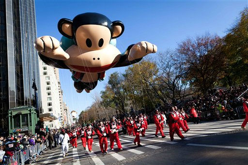 A balloon of cartoonist Paul Frank&#39;s Julius heads downtown during Macy&#39;s Thanksgiving Day Parade, Thursday, Nov. 24, 2011, in New York. The jetpack-wearing monkey and a freakish creation from filmmaker Tim Burton are two of the big new balloons that will make their inaugural appearances in front of millions of people at this year&#39;s parade. &#40;AP Photo&#47;John Minchillo&#41; <span class=meta>(AP Photo&#47; John Minchillo)</span>
