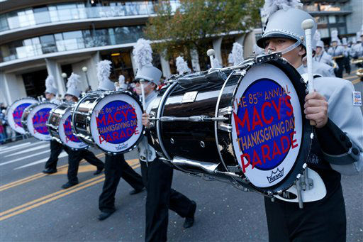 "<div class=""meta ""><span class=""caption-text "">A drum line marches along Central Park West during the Macy's Thanksgiving Day Parade, Thursday, Nov. 24, 2011, in New York. (AP Photo/John Minchillo) (AP Photo/ John Minchillo)</span></div>"
