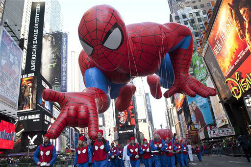 "<div class=""meta ""><span class=""caption-text "">The ""Spiderman"" float is seen during the Macy's Thanksgiving Day Parade in Times Square in New York on Thursday, Nov. 24, 2011. The parade premiered in 1924, this is its 85th year. (AP Photo/Andrew Burton) (AP Photo/ Andrew Burton)</span></div>"