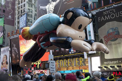 Julius, a jetpack-wearing monkey made by Paul Frank is seen during the Macy&#39;s Thanksgiving Day Parade in Times Square in New York on Thursday, Nov. 24, 2011. The parade premiered in 1924, this is its 85th year. &#40;AP Photo&#47;Andrew Burton&#41; <span class=meta>(AP Photo&#47; Andrew Burton)</span>