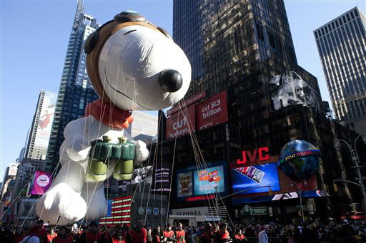 The &#34;Snoopy&#34; float is seen during the Macy&#39;s Thanksgiving Day Parade in Times Square in New York on Thursday, Nov. 24, 2011. The parade premiered in 1924, this is its 85th year. &#40;AP Photo&#47;Andrew Burton&#41; <span class=meta>(AP Photo&#47; Andrew Burton)</span>