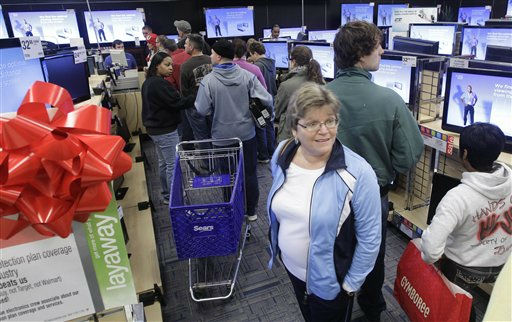 "<div class=""meta ""><span class=""caption-text "">Shoppers line up in the electronics department at a North Little Rock, Ark., Sears store Friday, Nov. 25, 2011. Thousands of shoppers lined up at Macy's, Best Buy and other stores nationwide to buy everything from toys to tablets on Black Friday despite the economic downturn and some planned protests of the shopping holiday. (AP Photo/Danny Johnston) (AP Photo/ Danny Johnston)</span></div>"