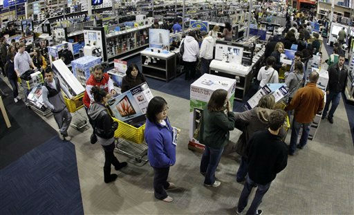 "<div class=""meta ""><span class=""caption-text "">A checkout line winds through a Best Buy store as shoppers take advantage of a midnight Black Friday sale on Friday, Nov. 25, 2011, in Brentwood, Tenn. Black Friday began in earnest as stores opened their doors at midnight. (AP Photo/Mark Humphrey) (AP Photo/ Mark Humphrey)</span></div>"
