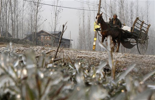 A Kashmiri man rides a horse-drawn cart past a frost covered field on the outskirts of Srinagar, India, Tuesday, Nov. 29, 2011. &#40;AP Photo&#47;Mukhtar Khan&#41; <span class=meta>(AP Photo&#47; Mukhtar Khan)</span>