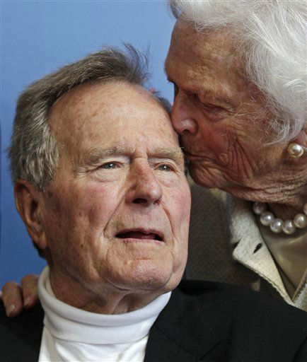 FILE - In a Tuesday, June 12, 2012 file photo, former President George H.W. Bush, and his wife former first lady Barbara Bush, arrive for the premiere of HBO&#39;s new documentary on his life near the family compound in Kennebunkport, Maine. Former President Bush has been hospitalized for about a week in Houston for treatment of a lingering cough. Bush?s chief of staff, Jean Becker, says the 88-year-old former president is being treated for bronchitis at Houston?s Methodist Hospital and is expected to be released by the weekend. He was admitted Friday, Nov. 23, 2012.  &#40;AP Photo&#47;Charles Krupa, File&#41; <span class=meta>(AP Photo&#47; Charles Krupa)</span>