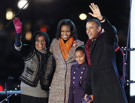 "<div class=""meta ""><span class=""caption-text "">President Barack Obama, first lady Michelle Obama, daughters Malia and Sasha, obscured, and mother-in-law Marian Robinson, far left, arrive for the lighting of the National Christmas Tree at the Ellipse across from the White House in Washington, Thursday, Dec., 1, 2011. (AP Photo/Pablo Martinez Monsivais) (AP Photo/ Pablo Martinez Monsivais)</span></div>"