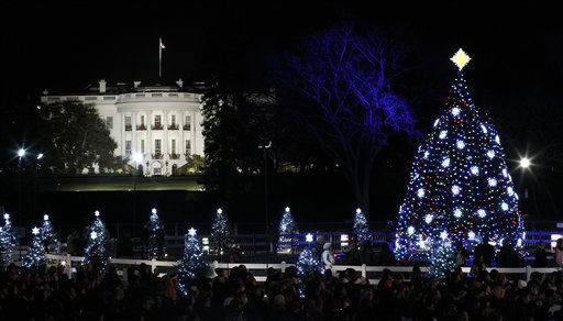 "<div class=""meta ""><span class=""caption-text "">The National Christmas Tree is pictured with the White House in the background after it was lit on the Ellipse across from the White House in Washington, Thursday, Dec., 1, 2011. (AP Photo/Pablo Martinez Monsivais) (AP Photo/ Pablo Martinez Monsivais)</span></div>"