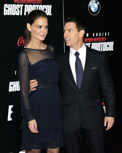 "<div class=""meta image-caption""><div class=""origin-logo origin-image ""><span></span></div><span class=""caption-text"">Actor Tom Cruise and wife Katie Holmes attend the U.S. premiere of ""Mission: Impossible - Ghost Protocol"" at the Ziegfeld Theatre on Monday, Dec.19, 2011 in New York. (AP Photo/Evan Agostini) (AP Photo/ Evan Agostini)</span></div>"