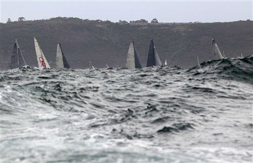 "<div class=""meta ""><span class=""caption-text "">The hulls of competing boats are below the swell at the start of the Sydney to Hobart yacht race in Sydney, Monday, Dec. 26, 2011. A fleet of 88 yachts sailed out of Sydney Harbour at the start of the 67th edition of the race. (AP Photo/Rick Rycroft) (AP Photo/ Rick Rycroft)</span></div>"