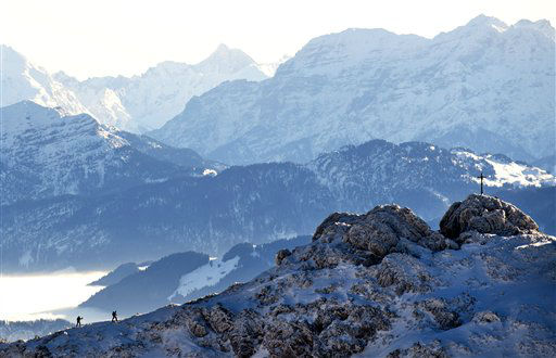 Hikers make their way to the peak of Wendelstein mountain in the German Alps, near Bayrischzell, southern Germany, Tuesday, Dec. 27, 2011. &#40;AP Photo&#47;dapd&#47;Lukas Barth&#41; <span class=meta>(AP Photo&#47; Lukas Barth)</span>