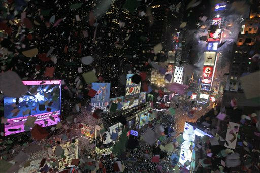 Confetti flies over New York&#39;s Times Square as the clock strikes midnight during the New Year&#39;s Eve celebration as seen from the balcony of the Marriott Marquis hotel, Sunday, Jan. 1, 2012, in New York.  &#40;AP Photo&#47;Mary Altaffer&#41; <span class=meta>(AP Photo&#47; Mary Altaffer)</span>