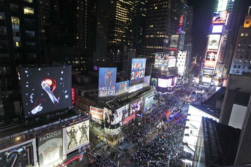 The crowd packs New York&#39;s Times Square during the New Year&#39;s Eve celebration as seen from the Marriott Marquis Hotel, Saturday, Dec. 31, 2011, in New York. &#40;AP Photo&#47;Mary Altaffer&#41; <span class=meta>(AP Photo&#47; Mary Altaffer)</span>