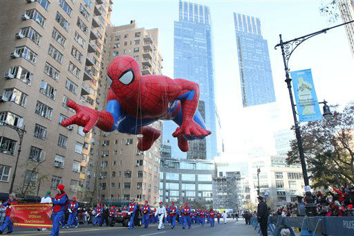 The Spiderman balloon participates in the 86th Annual Macy&#39;s Thanksgiving Day Parade Thursday Nov. 22, 2012, in New York. The annual Macy&#39;s Thanksgiving Day Parade put a festive mood in the air in a city still coping with the aftermath of Superstorm Sandy.  &#40;AP Photo&#47;Tina Fineberg&#41; <span class=meta>(AP Photo&#47; Tina Fineberg)</span>