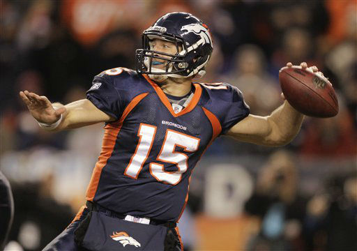 Denver Broncos quarterback Tim Tebow &#40;15&#41; throws against the Kansas City Chiefs in the fourth quarter of an NFL football game, Sunday, Jan. 1, 2012, in Denver.  &#40;AP Photo&#47;Joe Mahoney&#41; <span class=meta>(AP Photo&#47; Joe Mahoney)</span>
