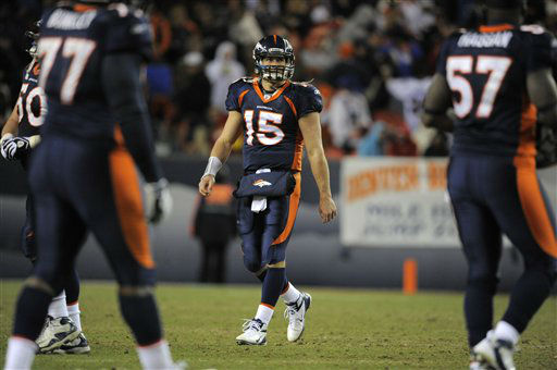 Denver Broncos quarterback Tim Tebow looks on after throwing an interception  during an NFL football game between the Denver Broncos and the Kansas City Chiefs, Sunday, Jan. 2, 2012. &#40;AP Photo&#47;Jack Dempsey&#41; <span class=meta>(AP Photo&#47; Jack Dempsey)</span>