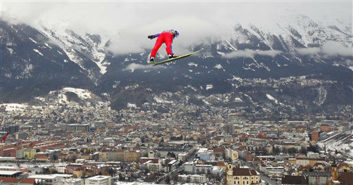 Janne Happonen of Finland soars during the third stage of the Four Hills ski jumping tournament in Innsbruck, Austria, on Wednesday, Jan. 4, 2012. &#40;AP Photo&#47;Matthias Schrader&#41; <span class=meta>(AP Photo&#47; Matthias Schrader)</span>