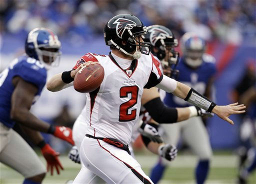 Atlanta Falcons quarterback Matt Ryan &#40;2&#41; looks to pass against the New York Giants during the first half of an NFL wild card playoff football game Sunday, Jan. 8, 2012, in East Rutherford, N.J. &#40;AP Photo&#47;Matt Slocum&#41; <span class=meta>(AP Photo&#47; Matt Slocum)</span>