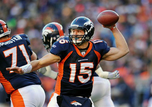 "<div class=""meta image-caption""><div class=""origin-logo origin-image ""><span></span></div><span class=""caption-text"">Denver Broncos quarterback Tim Tebow throws in an NFL wild card playoff football game against the Pittsburgh Steelers on Sunday, Jan. 8, 2012, in Denver. The Broncos won 29-23 in overtime. (AP Photo/Chris Schneider) (AP Photo/ Chris Schneider)</span></div>"
