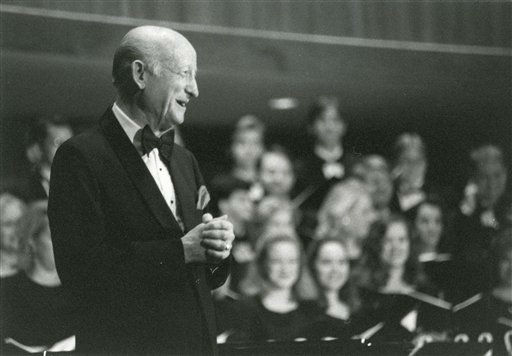 In this undated photo provided by Ouichita Baptist University in Arkadelphia, Ark., William Francis McBeth, a composer, former conductor of the Arkansas Symphony Orchestra and one-time band teacher to Bill Clinton, acknowledges the crowd at a concert. McBeth died Friday, Jan. 6, 2012, in Arkadelphia. He was 78. &#40;AP Photo&#47;Ouichita Baptist University&#41; <span class=meta>(AP Photo&#47; Anonymous)</span>