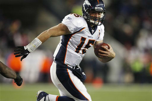 Denver Broncos quarterback Tim Tebow during the second half of an NFL divisional playoff football game against the New England Patriots Saturday, Jan. 14, 2012, in Foxborough, Mass. &#40;AP Photo&#47;Charles Krupa&#41; <span class=meta>(AP Photo&#47; Charles Krupa)</span>