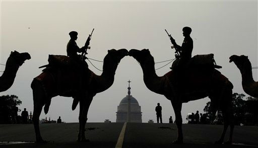 Soldiers mounted on camels participate in a rehearsal for the Beating Retreat ceremony in New Delhi, India, Monday, Jan. 16, 2012. The ceremony will be held on Jan. 29, three days after the Republic Day celebrations on Jan. 26. &#40;AP Photo&#47;Saurabh Das&#41; <span class=meta>(AP Photo&#47; Saurabh Das)</span>